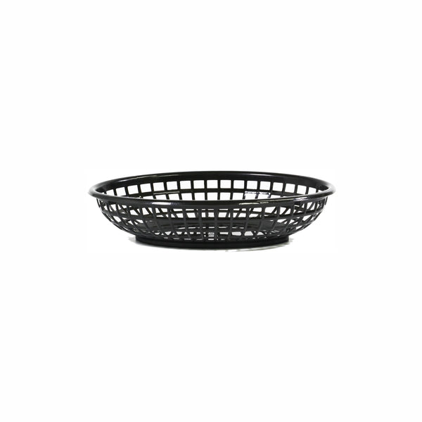 REGENT CATERING PLASTIC SERVING BASKET OVAL BLACK, (240X150X50MM)