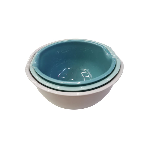 REGENT COLOURED MIXING BOWLS PLASTIC, 3 PIECE SET (1.5L/2.0L/3.0L)