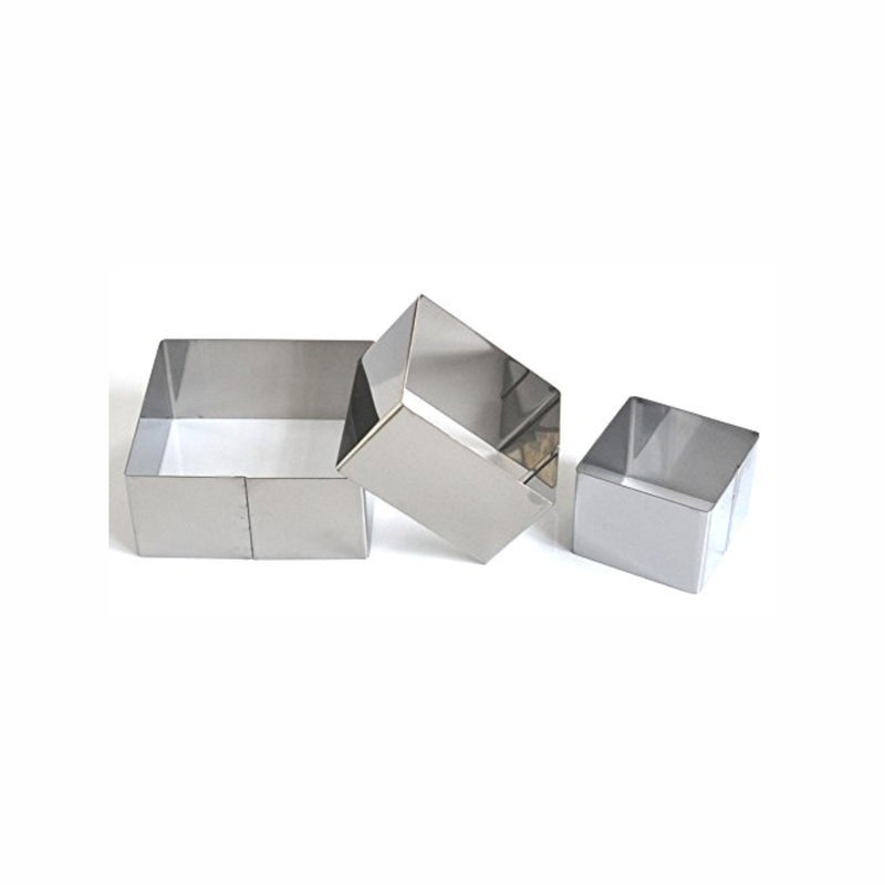 REGENT BAKEWARE SQUARE DESSERT CUTTERS S/STEEL, 3 PIECE (60/80/100MM)