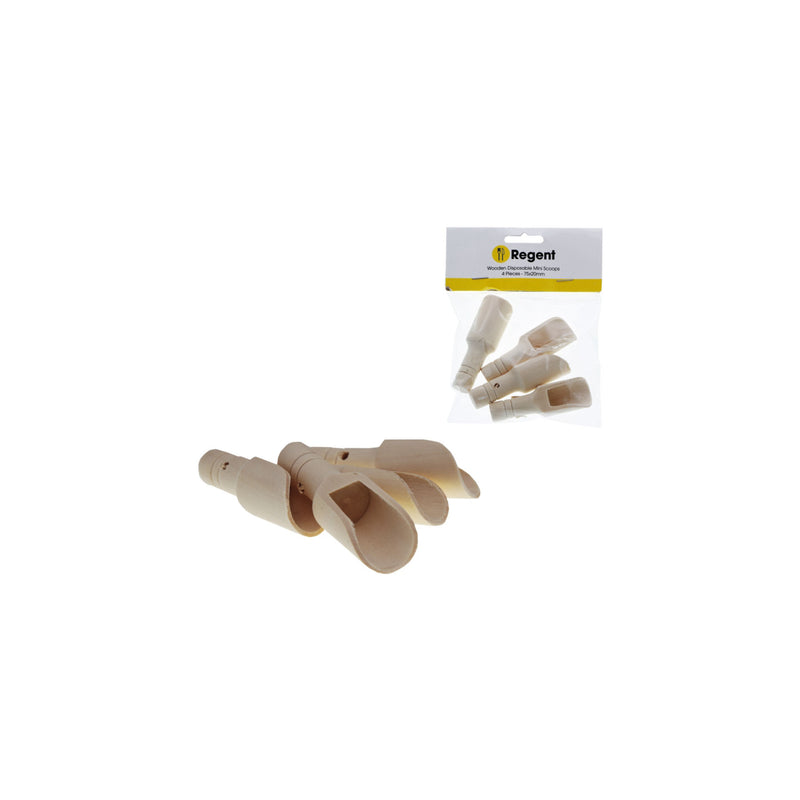 REGENT WOODEN MINI SCOOPS 4 PIECE (75X20MM)