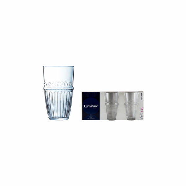 LUMINARC LOUISON HIGH BALL TEMPERED TUMBLER, 3 PACK (350ML)