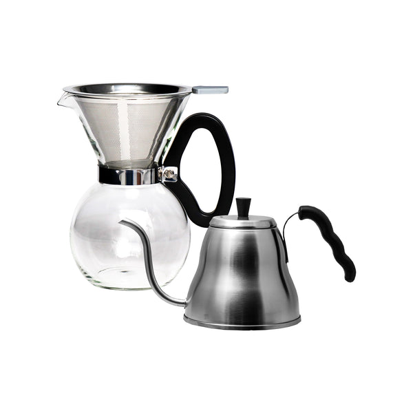 REGENT COFFEE GLASS POUR OVER COFFEE MAKER 8 CUP WITH DRIP KETTLE 1LT ST.STEEL SET
