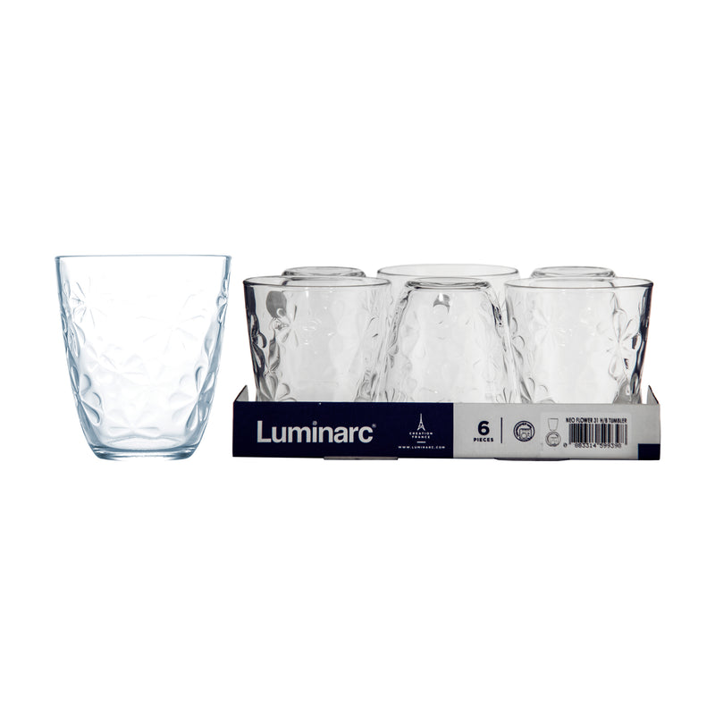 LUMINARC NEO FLOWER HIGH BALL TUMBLER, 6 PACK (310ML)