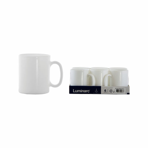 LUMINARC WHITE ESSENCE TEMPERED GLASS MUG, 6 PACK (320ML)