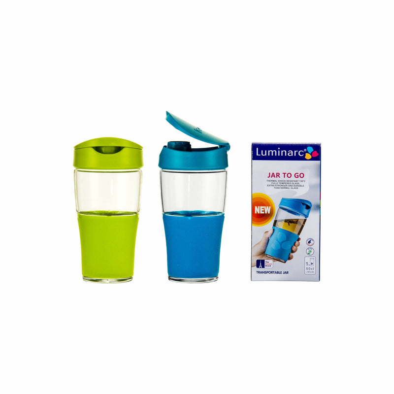 LUMINARC TRANSPORTABLE DIRECT DRINK MUG, (500ML) (GREEN & BLUE)