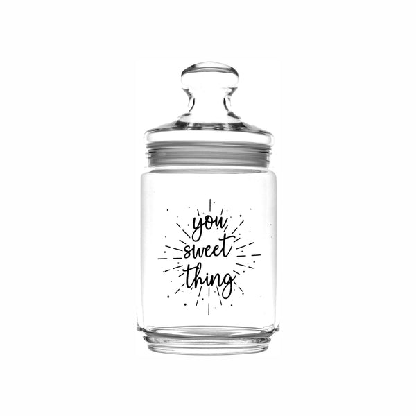 REGENT PRINTED GLASS CANISTER - YOU SWEET THING, 1LT (200X105MM DIA)
