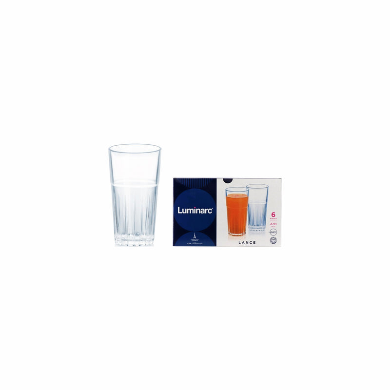 LUMINARC LANCE HIGH BALL TUMBLER, 6 PACK (270ML)
