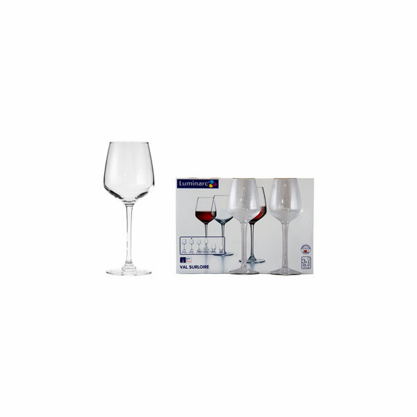 LUMINARC VAL SUR LOIRE STEMMED WINE GLASS, 3 PACK (250ML)