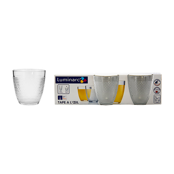 LUMINARC TAPE A L'OEIL TEMPERED OLD FASHIONED TUMBLER, 3 PACK (270ML)