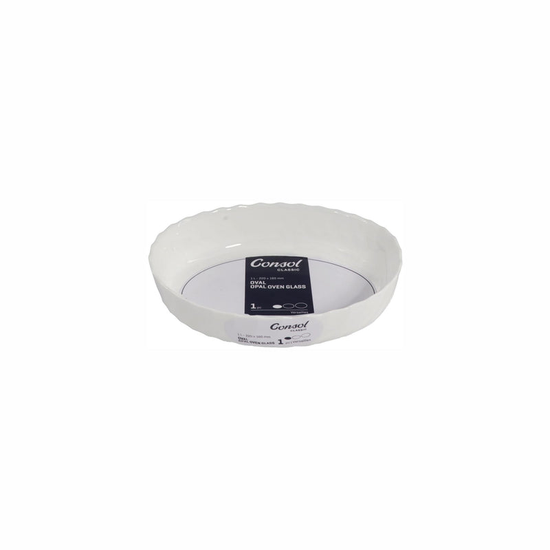 CONSOL VERSAILLES OVAL OPAL OVEN GLASS DISH (1L) 220X160X50MM