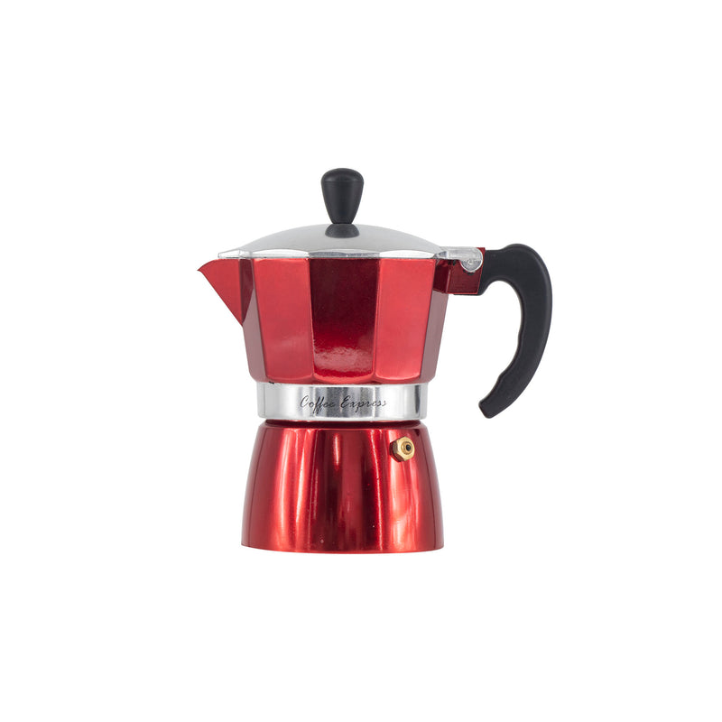 REGENT COFFEE MAKER ALUMINIUM 2 TONE BLACK & RED 3 CUP