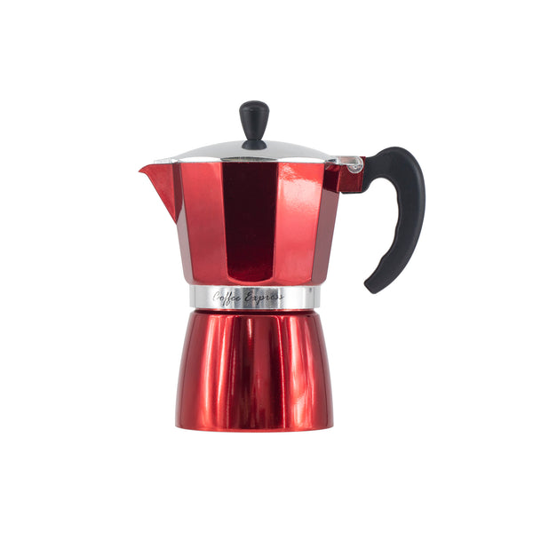 REGENT COFFEE MAKER ALUMINIUM 2 TONE RED & SILVER, 6 CUP