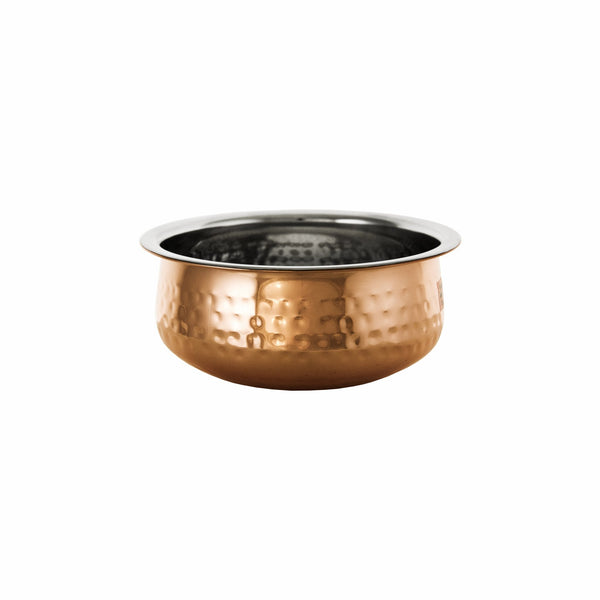 REGENT COOKWARE HANDI BOWL HAMMERED ST/STEEL COPPER PLATED 1.4LT (175MM:DX65MM)
