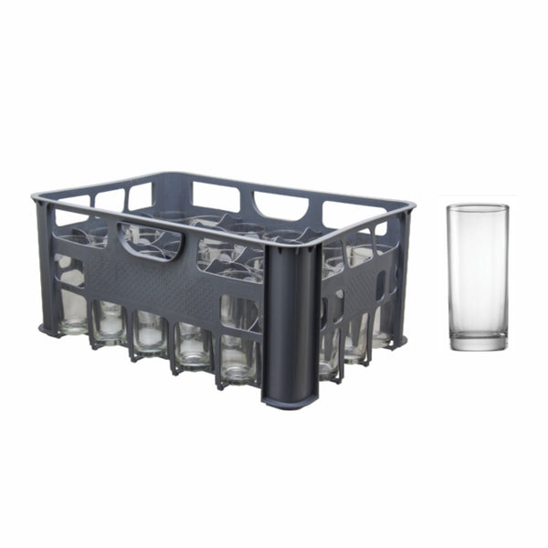 REGENT GREY PLASTIC CRATE WITH HIBALL TUMBLERS, 24S