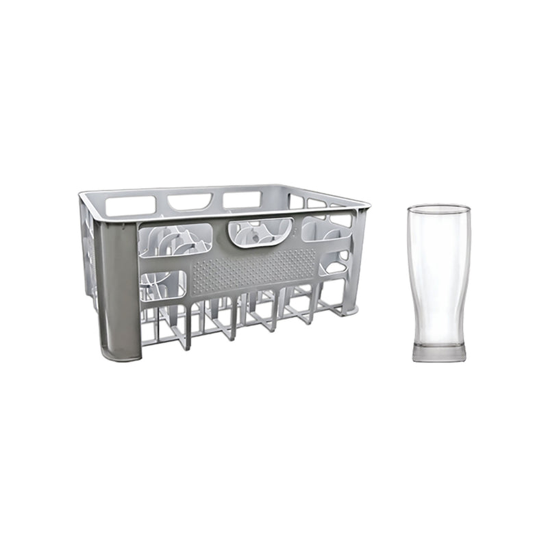 CRATE GREY PLASTIC WITH PILSNER GLASSES 24'S, (290ML)
