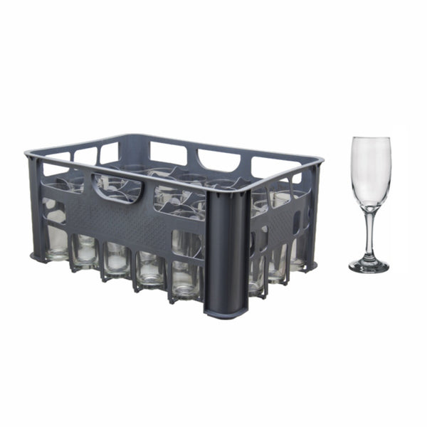 REGENT GREY PLASTIC CRATE WITH CHAMPAGNE FLUTE, 24S (190ML)