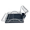 REGENT DISH DRYING RACK SILVER ALUMINIUM WITH BLACK PLASTIC TRAY & UTENSIL HOLDER (453X340MM)