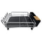 REGENT DISH DRYING RACK SILVER ALUMINIUM WITH BLACK PLASTIC TRAY & UTENSIL HOLDER (410X355MM)