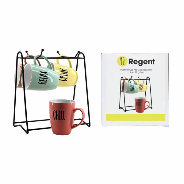 REGENT MUG STAND WITH 4 COFFEE MUGS ASST PASTEL COLOURS (WORD DECAL)