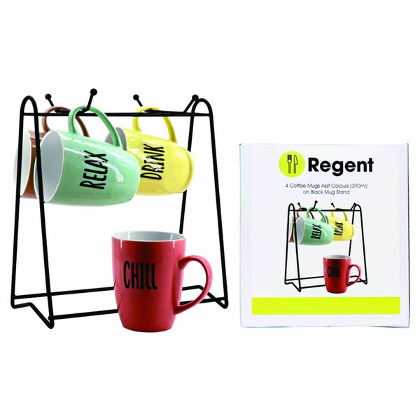 REGENT MUG STAND WITH 4 COFFEE MUGS ASST COLOURS (WORD DECAL)