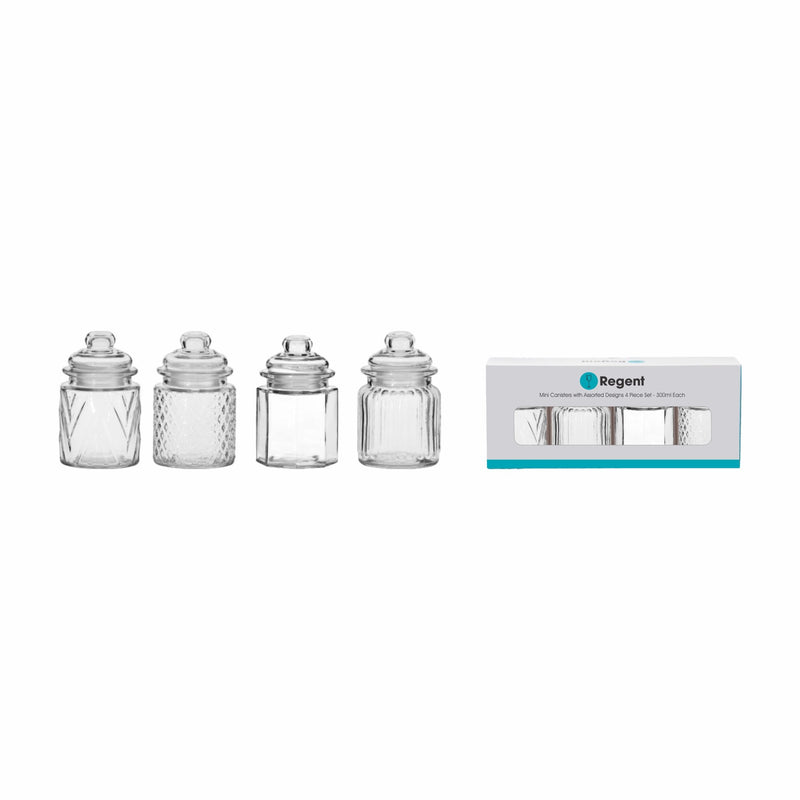 REGENT MINI CANISTERS WITH ASSORTED DESIGNS, 4 PIECE SET (300ML)