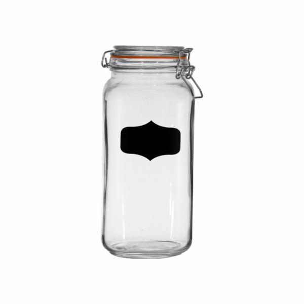 REGENT HERMETIC GLASS CANISTER WITH CLIP-SEAL & BLACKBOARD NOTES, 2LTR