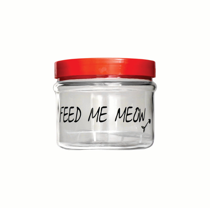 FEED ME MEOW PET TREAT STORAGE JAR WITH RED LID, (2.5LT)