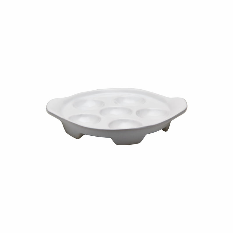 REGENT SNAIL DISH WHITE PORCELAIN, 6 PORTION WITH 2 HANDLES (150MM:DIAX178X30MM) also see 70348