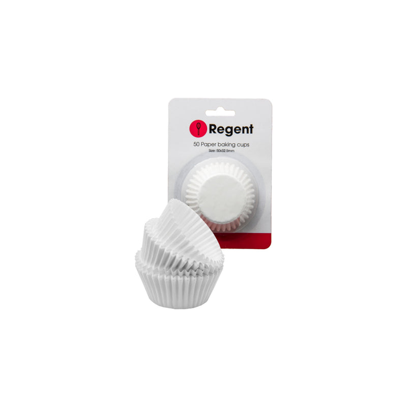 REGENT CAKE CUPS WHITE 50 PIECE, (50X32.5MM)