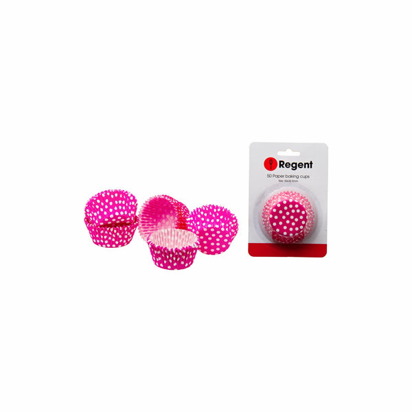 REGENT CAKE CUPS PINK W/WHITE DOTS 50PC (50MM:DX32.5MM)