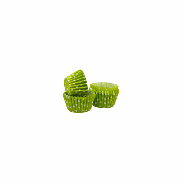 REGENT CAKE CUPS MINI LIME WITH WHITE DOTS, 60 PIECES (27MM:DX25MM)