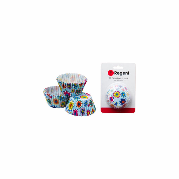 REGENT CAKE CUPS PALE BLUE W/FLOWERS 50PCS (50X37.5MM)