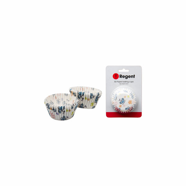 REGENT CAKE CUPS WHITE W/FLOWERS 50PCS (50X37.5MM)