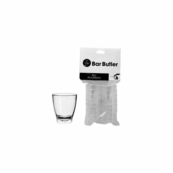 BAR BUTLER 10 CLEAR PLASTIC SHOT GLASSES IN HANG PACK (25ML)