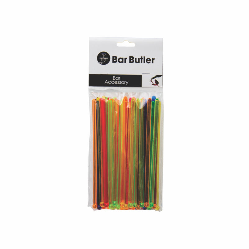 BAR BUTLER COLOURED STIRRERS 50 PACK, (165X5MM)