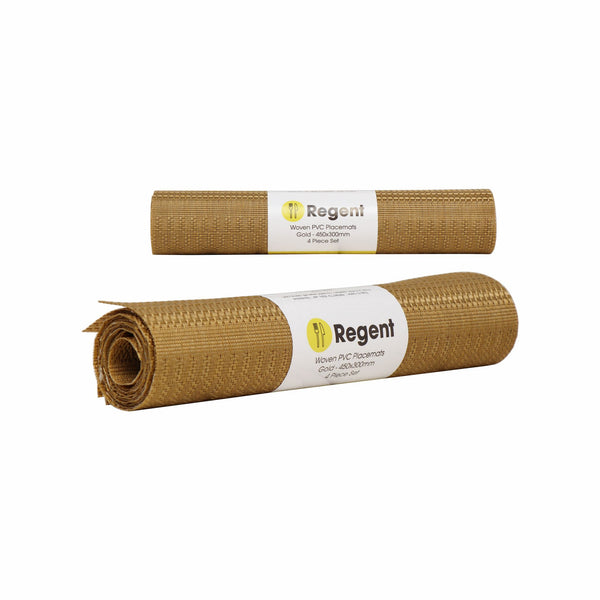 REGENT PLACEMAT WOVEN PVC GOLD 4 PACK ROLL, (450X300MM)