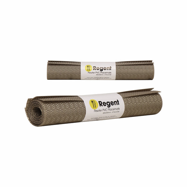 REGENT PLACEMAT WOVEN PVC PEWTER, 4 PACK ROLL (450X300MM)