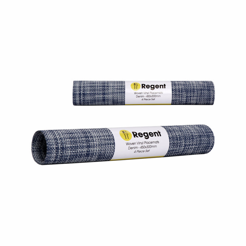 REGENT PLACEMAT WOVEN VINYL DENIM, 4 PACK ROLL (450X300MM)