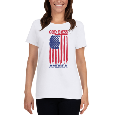 4th of July Limited Edition Bleeding Flag Design - White Short Sleeve Ladies' Scoopneck T-Shirt