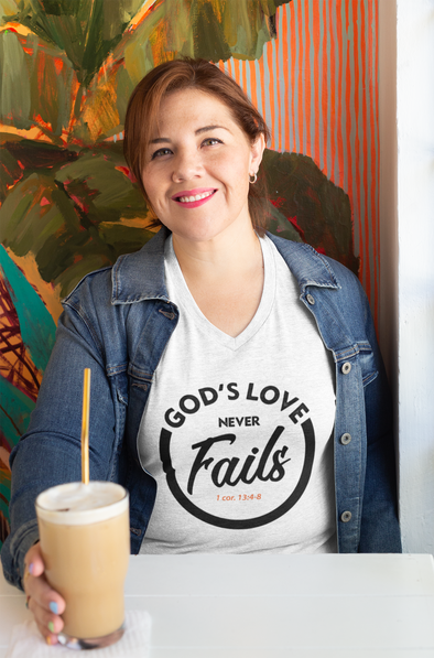 God's Love Never Fails ... Women's V-Neck Tee