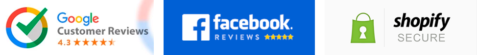 Logos of Google reviews, Facebook reviews and Shopify