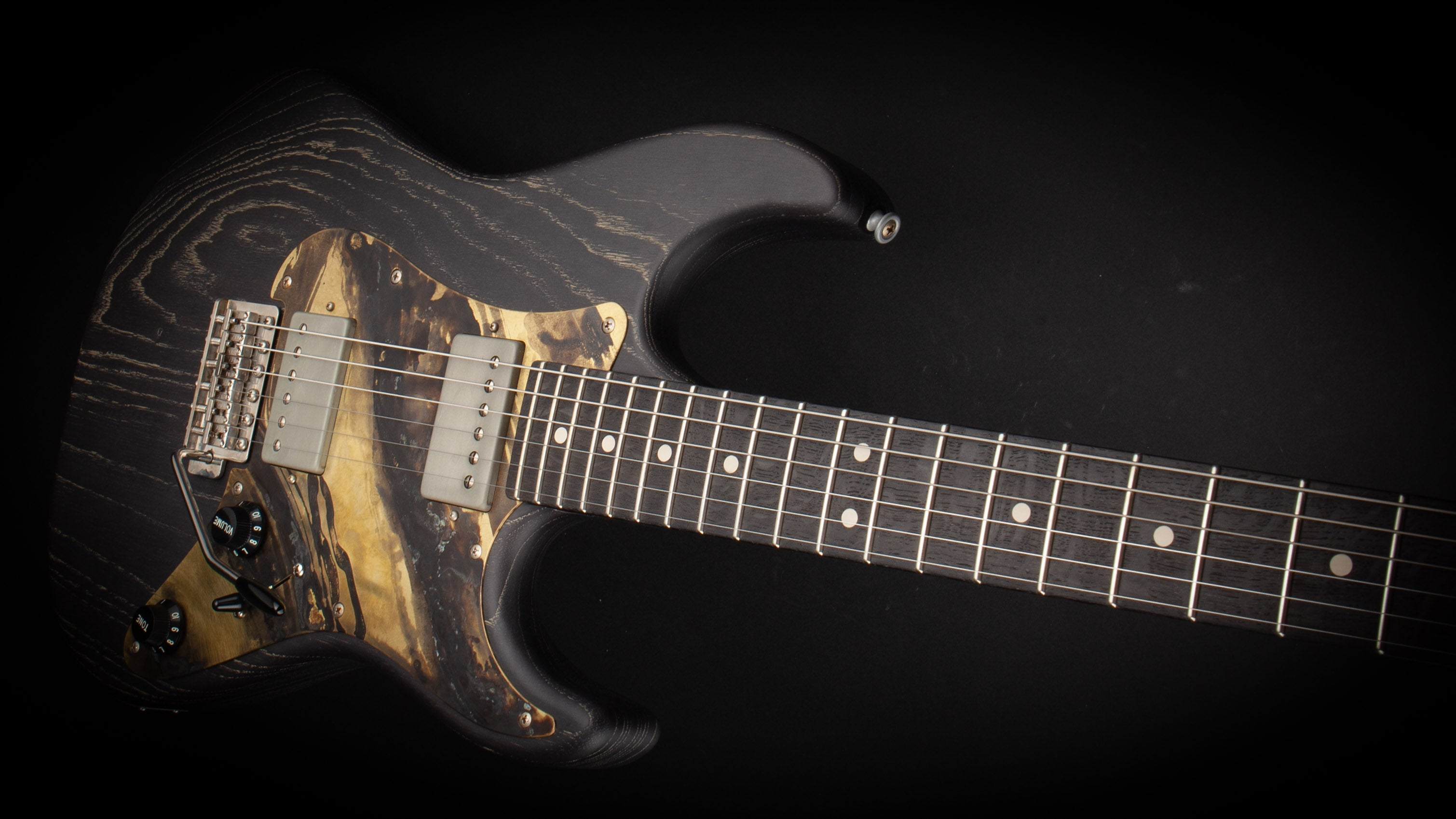 Patrick James Eggle 96 HH Swamp Ash Black with Bog Oak Neck #12929
