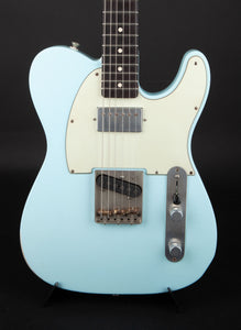 Smitty Guitars: T Style Sonic Blue with Mastergrade Roasted Flame Maple Neck