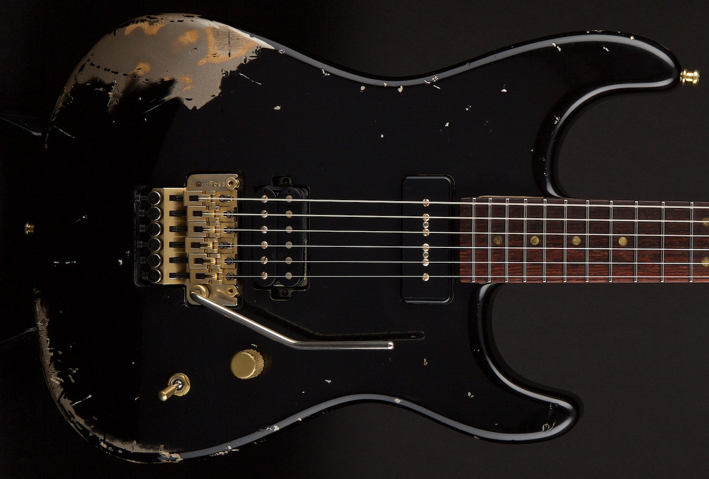 Luxxtone Guitars El Machete Black Over Shoreline Gold #0069