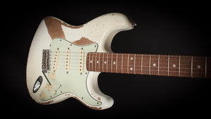 Smitty Guitars 60's S Style Olympic White with Mastergrade Roasted Flame Maple Neck