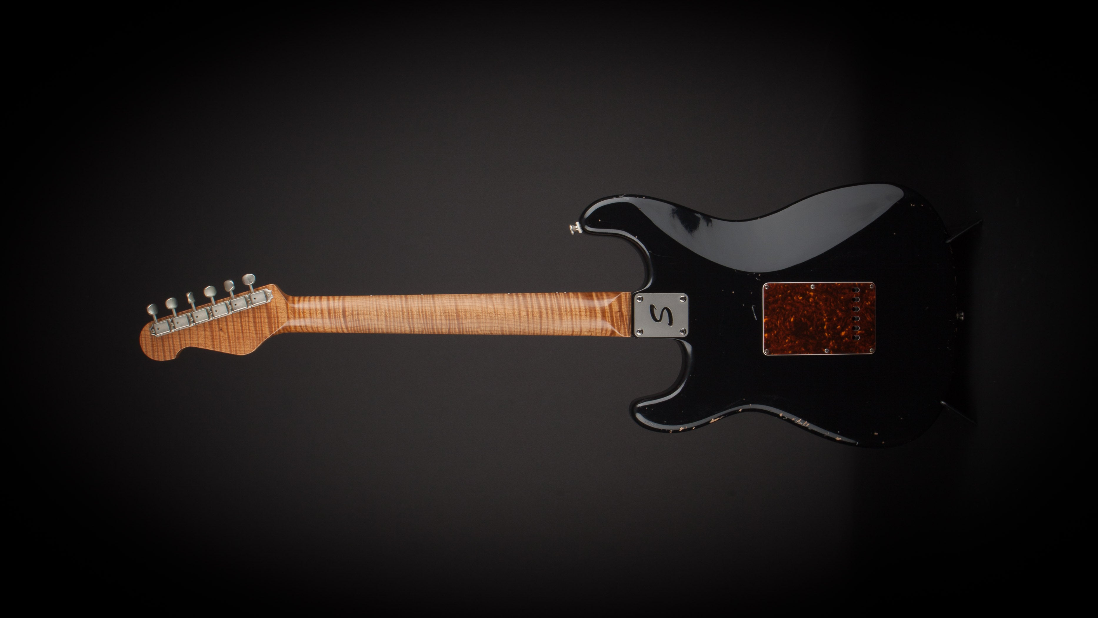 Smitty Guitars 60's S Style Black with Mastergrade Roasted Flame Maple Neck