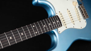 Smitty Guitars: 60's Classic S Ice Blue Metallic with Mastergrade Roasted Flame Maple Neck