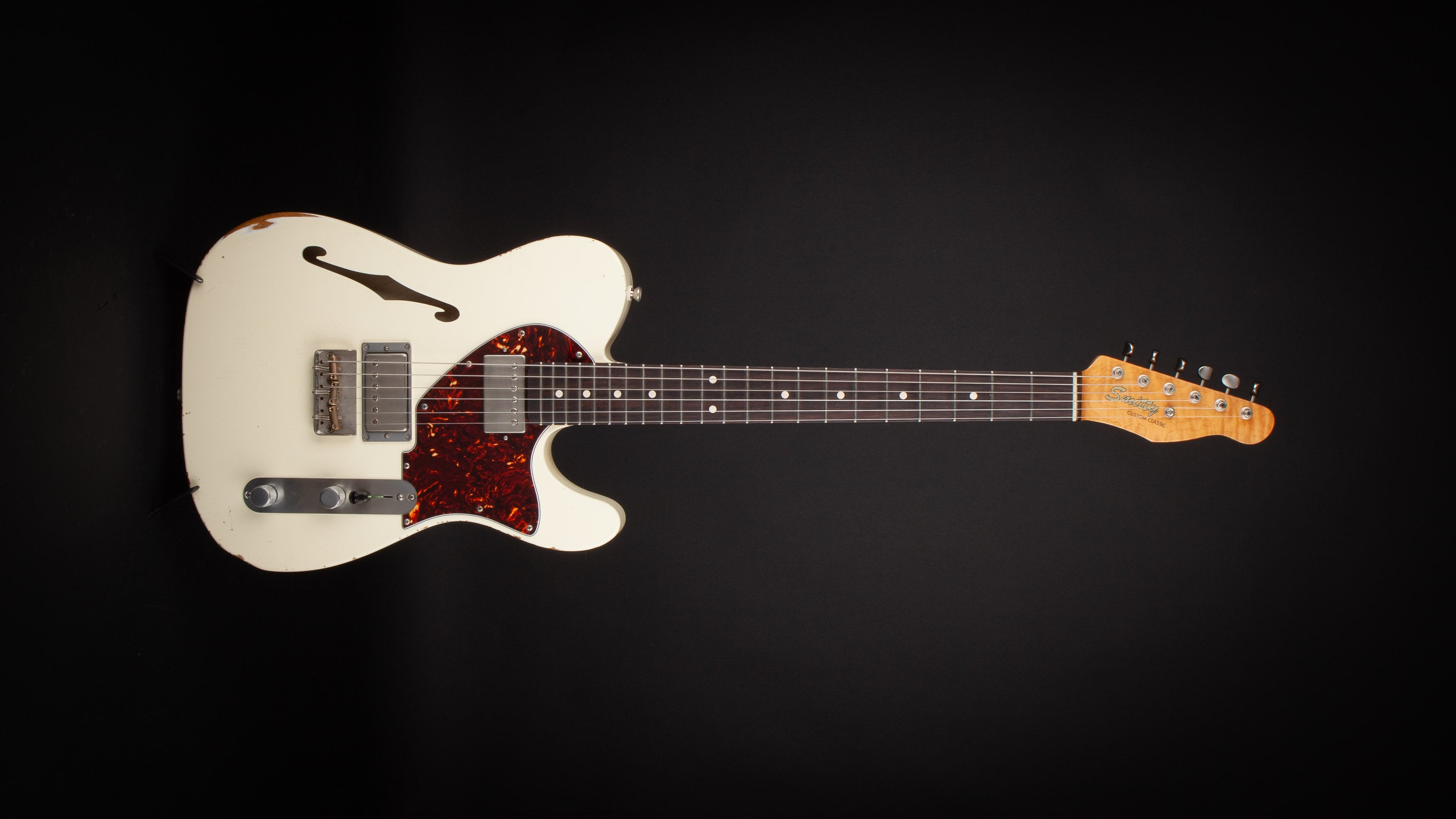 Smitty Guitars: T Style Thinline Olympic White with Mastergrade Roasted Flame Maple Neck