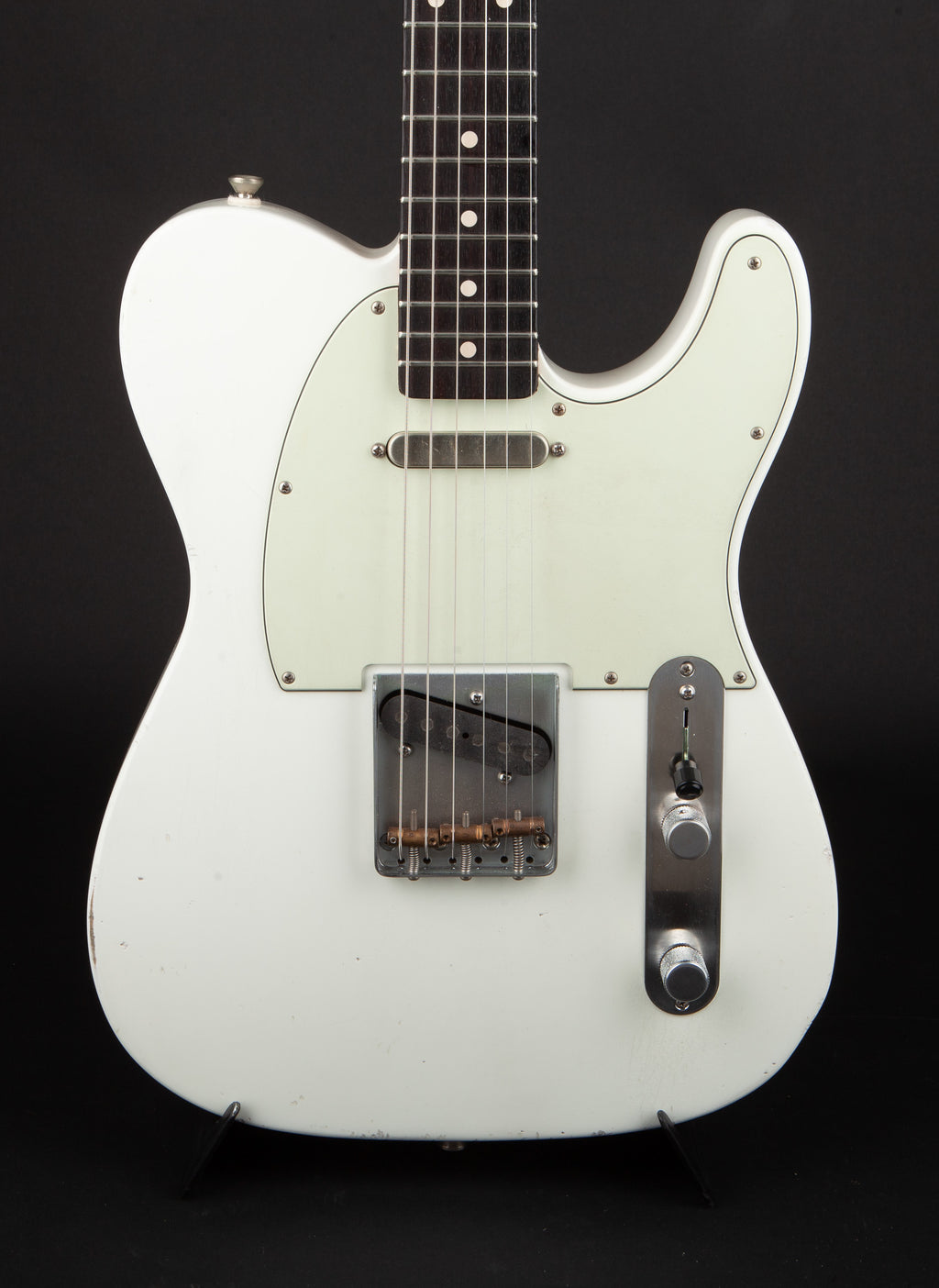 Smitty Guitars: Classic T White with Mastergrade Roasted Flame Maple Neck