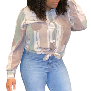 Retro-Deco Patterned Blouse (M and XL)
